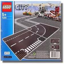 7281 LEGO Grondplaten bocht + T-splitsing