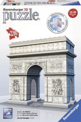 125142 Ravensburger 3D puzzel Arc de Triomphe Parijs 216 stukjes