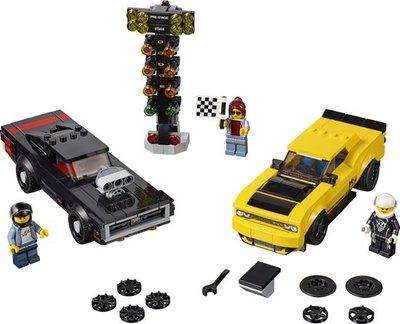 75893 LEGO Speed Champions 2018 Dodge Challenger SRT Demon en 1970 Dodge Charger R/T