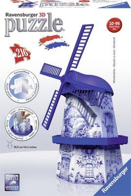 125197 Ravensburger 3D puzzel Hollandse molen Delfts Blauw 216 stukjes