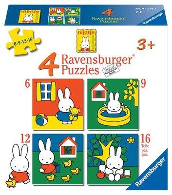 Ravensburger nijntje. vier puzzels -6+9+12+16 stukjes - kinderpuzzel