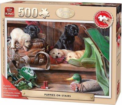 05533 King Seniorenpuzzel Puppies on Stairs 500 (grote) Stukjes