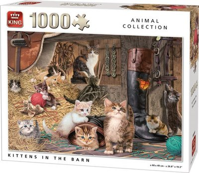 05700 King Puzzel Poezen in de Stal 1000 Stukjes