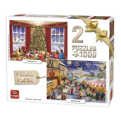 05811 King 2 in 1 Puzzel Kerstpuzzel Collectie 2 x 1000 Stukjes