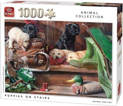 05379 King Puzzel Puppies On Stairs 1000 Stukjes