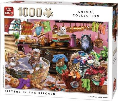55847 King Puzzel Poezen in de Keuken 1000 Stukjes
