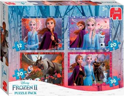 19747 Jumbo 4in1 Puzzel Frozen2 12/20/30/36 stukjes