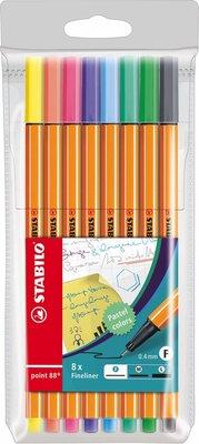 93499 Stabilo point 88 Fineliner Pastelkleuren 8 kleuren