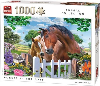 05388 King Puzzel Horses At Gate 1000 Stukjes