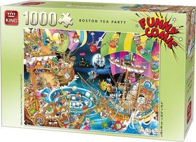 05222 King Funny Comic Puzzel Boston Tea Party 1000 Stukjes