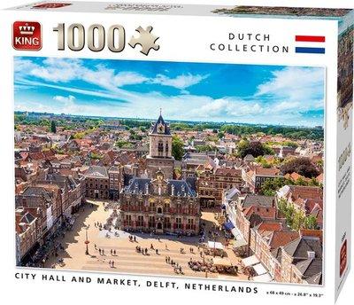 55869 King Puzzel City Hall and Market Delft 1000 Stukjes