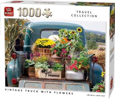 55862 King Puzzel Vintage Truck With Flowers 1000 Stukjes