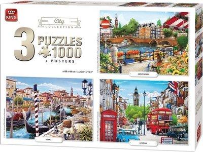 05205 King Puzzel 3in1 Steden Collectie 1000 Stukjes