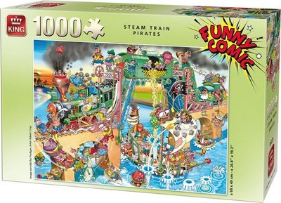 05225 King Puzzel Funny Comic Steam Train Pirates 1000 Stukjes