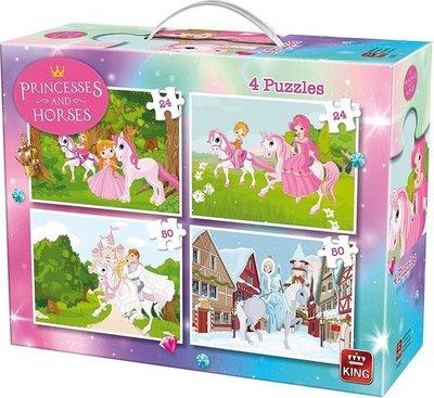 55894 King Puzzel Paarden en Prinsessen 4 in 1 Kinderpuzzel In Koffertje