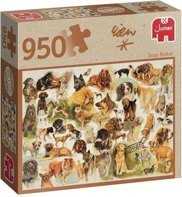 81809 Jumbo Puzzel Rien Poortvliet Dogs Poster 950 Stukjes