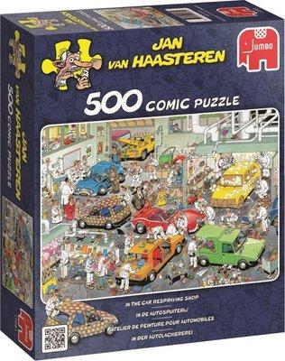 17281 Jumbo Puzzel Jan Van Haasteren In De Autospuiterij 500 Stukjes