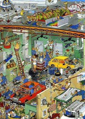 81800 Jumbo Puzzel Jan van Haasteren Cars In The Make 950 Stukjes