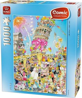 05187 King Puzzel Funny Comic Pisa 1000 Stukjes