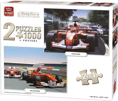 05214 King 2in1 Puzzel Formule 1 Raceauto Collectie 2X1000 Stukjes