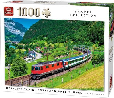05716 King Puzzel Intercity Trein Gotthard Base Tunnel 1000 Stukjes