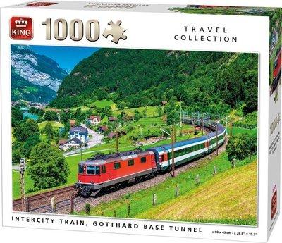 05716 King Puzzel Intercity Trein Gotthard Base Tunnel 1000 Stukjes