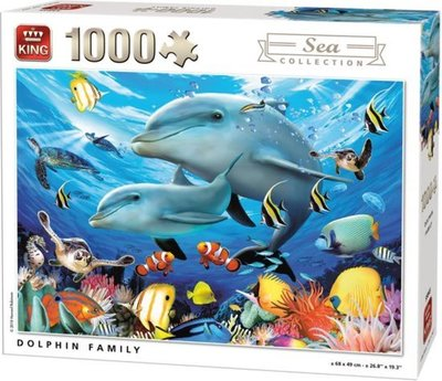 55845 King Puzzel Dolphin Family 1000 Stukjes