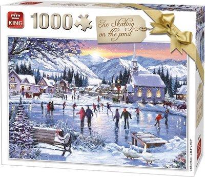 05724 King Puzzel Ice Skating On The Pond 1000 stukjes