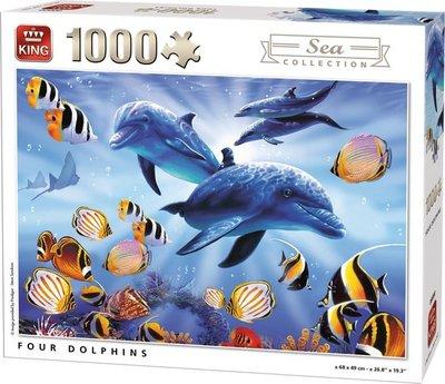 05666 King Puzzel Four Dolphins 1000 Stukjes
