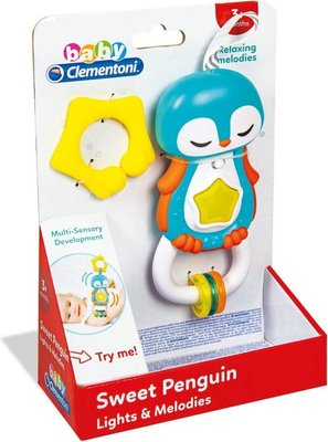 17331 Clementoni Rammelaar Pinguïn Blauw 22 Cm