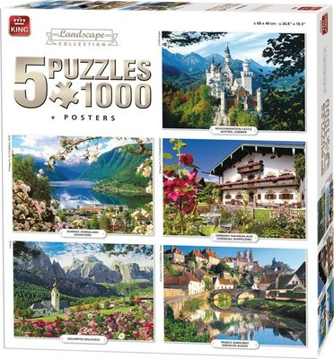 05209 King 5in1 Puzzel Landschappen Collectie 5x1000 Stukjes