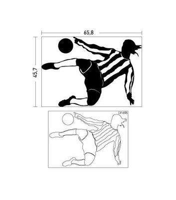 00537 Coart Muursticker Voetballer Omhaal 66 x 46 cm