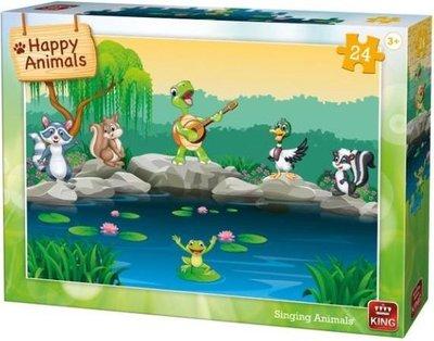 05782 King Puzzel Happy Animals Singing Animals 24 Stukjes