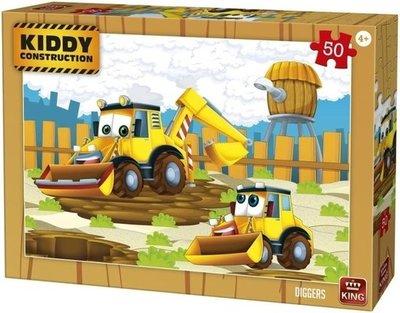 05456 King Puzzel Kiddy Constructions  Diggers 50 Stukjes