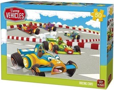 05524 King Puzzel Funny Vehicles Racing Cars 50 Stukjes
