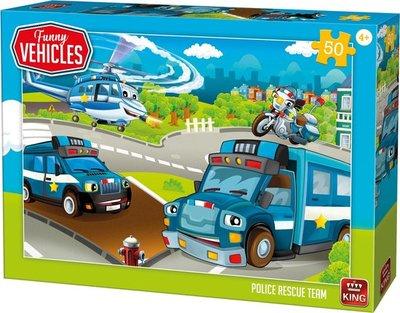 05523 King Puzzel Funny Vehicles Police Rescue Team 50 Stukjes