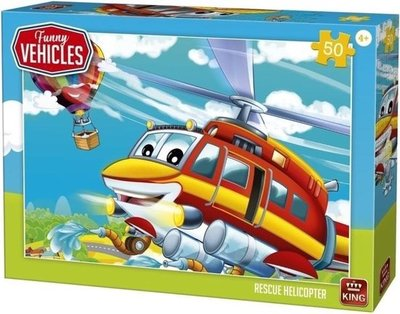 05519 King Puzzel Funny Vehicles Rescue Helicopter 50 Stukjes