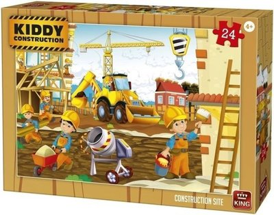 05459 King Puzzel Kiddy Construction Construction site 24 Stukjes