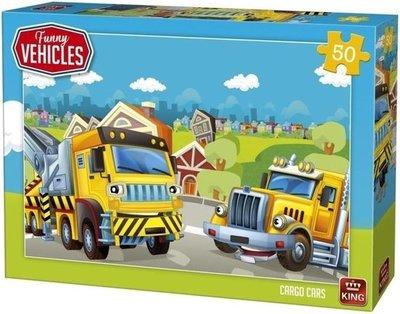 05522 King Puzzel Funny Vehicles Cargo Cars 50 Stukjes