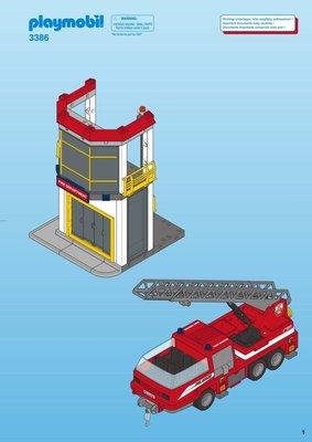 3386 PLAYMOBIL City Action Brandweerkazerne met Ladderwagen