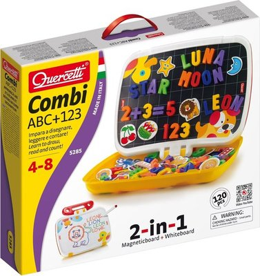 5285 Quercetti magneetbord incl. hoofdletters ABC + cijfer magneten, 120dlg