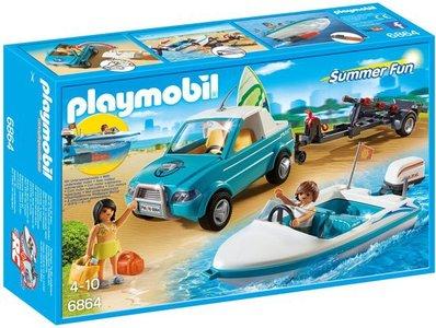 6864 Playmobil Pick-up met speedboot met onderwatermotor
